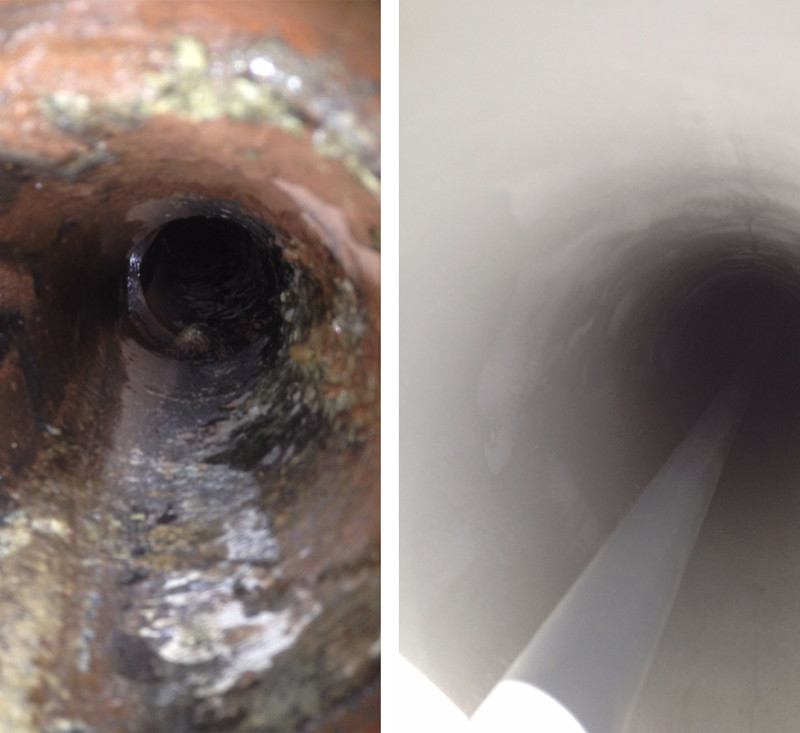 2) CLAY DRAIN REPLACEMENT BEFORE & AFTER
